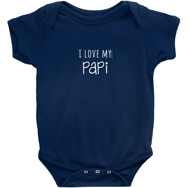 I Love My Papi Onesie | Short Sleeve Rib | 16 Colors | Unisex - Baby Pea Clothing Fashion for Babies & Kids of all ages