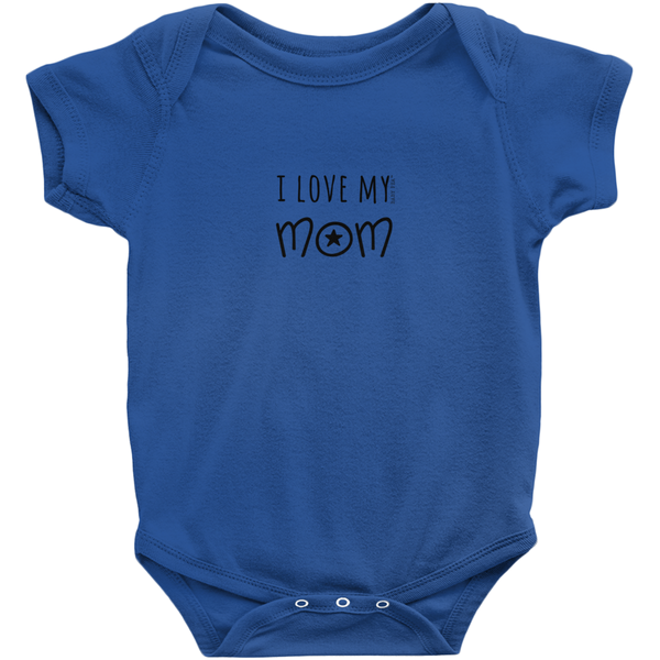 I Love My Mom Onesie | Short Sleeve Rib | 16 Colors | Unisex - Baby Pea Clothing Fashion for Babies & Kids of all ages