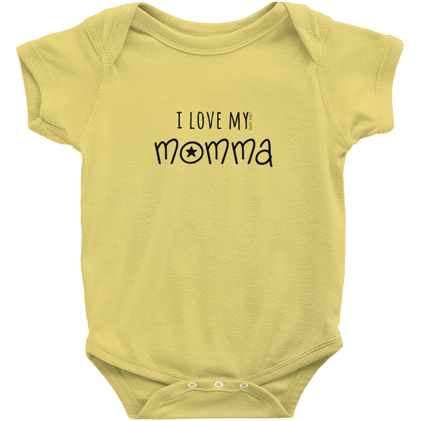 I Love My Momma Onesie | Short Sleeve Rib | 16 Colors | Unisex - Baby Pea Clothing Fashion for Babies & Kids of all ages