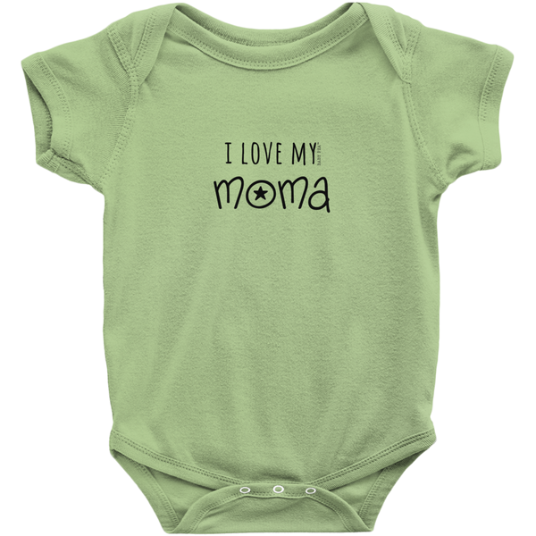 I Love My Moma Onesie | Short Sleeve Rib | 16 Colors | Unisex - Baby Pea Clothing Fashion for Babies & Kids of all ages