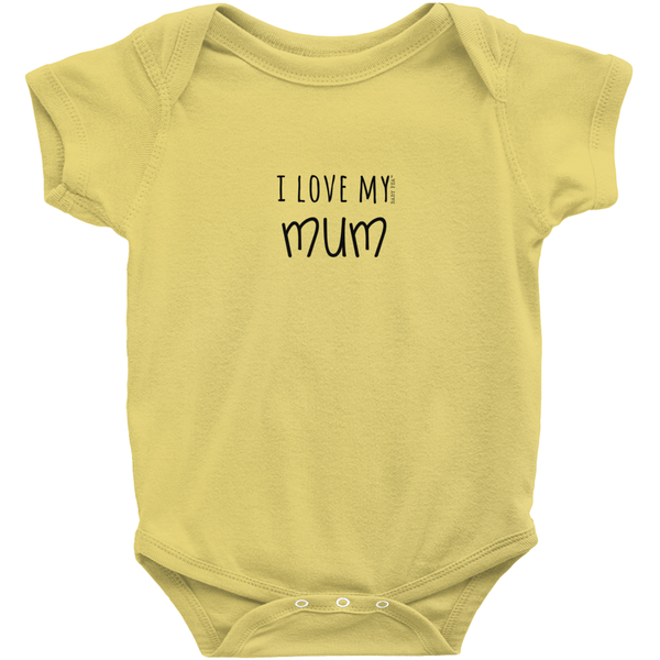 I Love My Mum Onesie | Short Sleeve Rib | 16 Colors | Unisex - Baby Pea Clothing Fashion for Babies & Kids of all ages