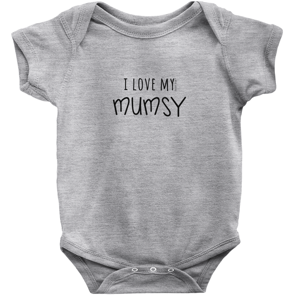 I Love My Mumsy Onesie | Short Sleeve Rib | 16 Colors | Unisex - Baby Pea Clothing Fashion for Babies & Kids of all ages