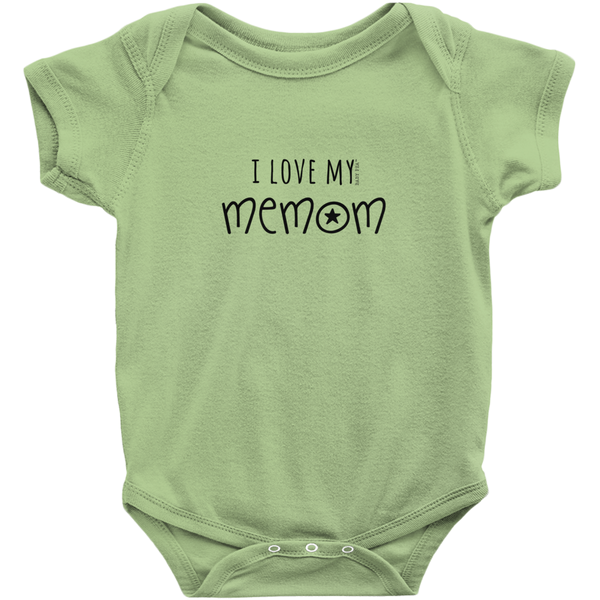 I Love My MeMom Onesie | Short Sleeve Rib | 16 Colors | Unisex - Baby Pea Clothing Fashion for Babies & Kids of all ages