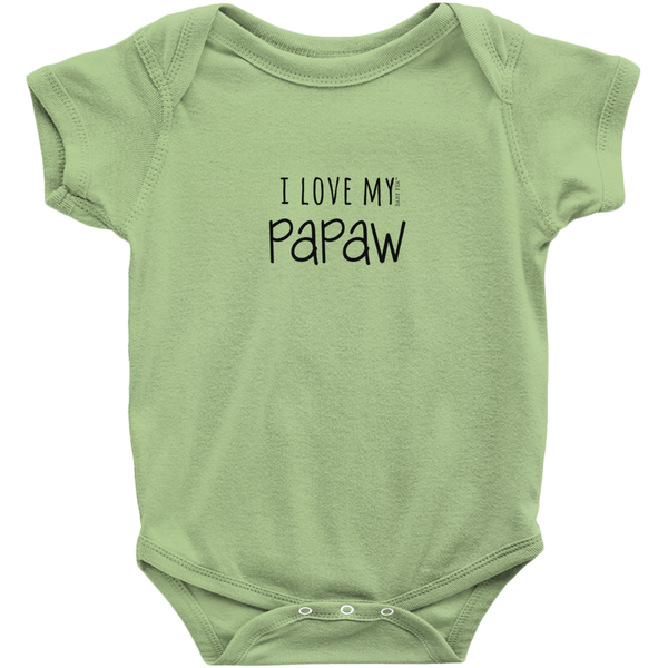 I Love My Papaw Onesie | Short Sleeve Rib | 16 Colors | Unisex - Baby Pea Clothing Fashion for Babies & Kids of all ages