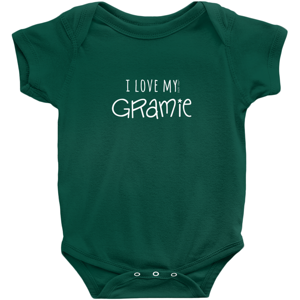 I Love My Gramie Onesie | Short Sleeve Rib | 16 Colors | Unisex - Baby Pea Clothing Fashion for Babies & Kids of all ages