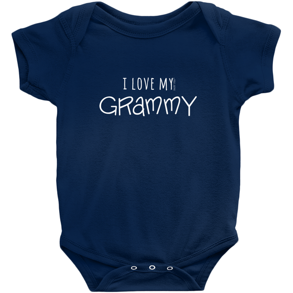 I Love My Grammy Onesie | Short Sleeve Rib | 16 Colors | Unisex - Baby Pea Clothing Fashion for Babies & Kids of all ages