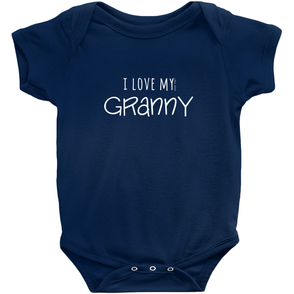 I Love My Granny Onesie | Short Sleeve Rib | 16 Colors | Unisex - Baby Pea Clothing Fashion for Babies & Kids of all ages