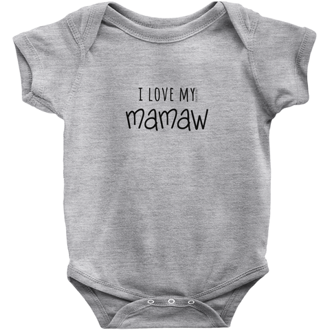 I Love My Mamaw Onesie | Short Sleeve Rib | 16 Colors | Unisex - Baby Pea Clothing Fashion for Babies & Kids of all ages