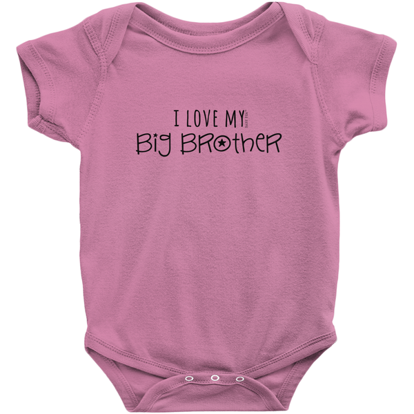 I Love My Big Brother Onesie | Short Sleeve Rib | 16 Colors | Unisex - Baby Pea Clothing Fashion for Babies & Kids of all ages