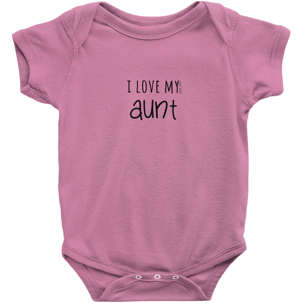 I Love My Aunt Onesie | Short Sleeve Rib | 16 Colors | Unisex - Baby Pea Clothing Fashion for Babies & Kids of all ages