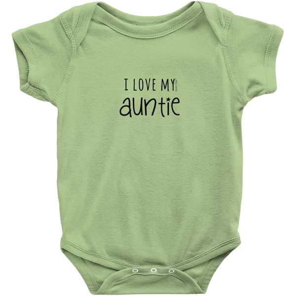 I Love My Auntie Onesie | Short Sleeve Rib | 16 Colors | Unisex - Baby Pea Clothing Fashion for Babies & Kids of all ages