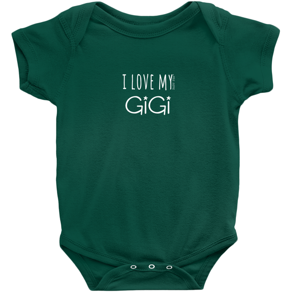 I Love My GiGi Onesie | Short Sleeve Rib | 16 Colors | Unisex - Baby Pea Clothing Fashion for Babies & Kids of all ages