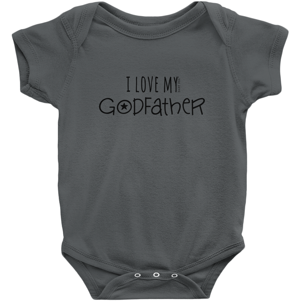 I Love My Godfather Onesie | Short Sleeve Rib | 16 Colors | Unisex - Baby Pea Clothing Fashion for Babies & Kids of all ages