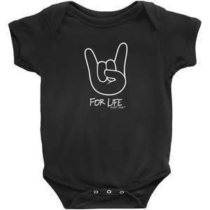 Rocker for Life Onesie | Short Sleeve Rib | 16 Colors | Unisex - Baby Pea Clothing Fashion for Babies & Kids of all ages