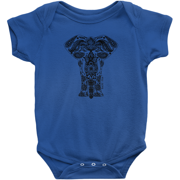 Boho Animal Elephant Onesie | Short Sleeve Rib | 16 Colors | Unisex - Baby Pea Clothing Fashion for Babies & Kids of all ages