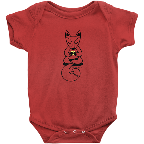 Boho Baby Yoga Fox Onesie | Short Sleeve Rib | 16 Colors | Unisex - Baby Pea Clothing Fashion for Babies & Kids of all ages