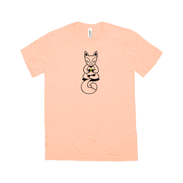 Boho Baby Yoga Fox | Adult Triblend Short Sleeve T-Shirt | 14 Colors | Adult Unisex - Baby Pea Clothing Fashion for Babies & Kids of all ages