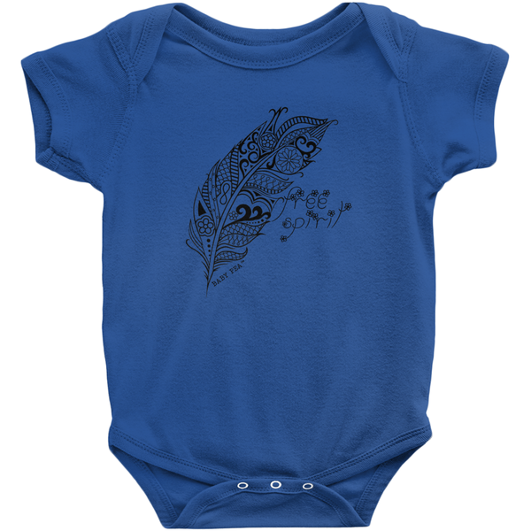 Free Spirit Boho Feather Onesie | Short Sleeve Rib | 16 Colors | Unisex - Baby Pea Clothing Fashion for Babies & Kids of all ages