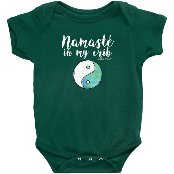 Namaste in My Crib Onesie | Short Sleeve Rib | 16 Colors | Unisex - Baby Pea Clothing Fashion for Babies & Kids of all ages