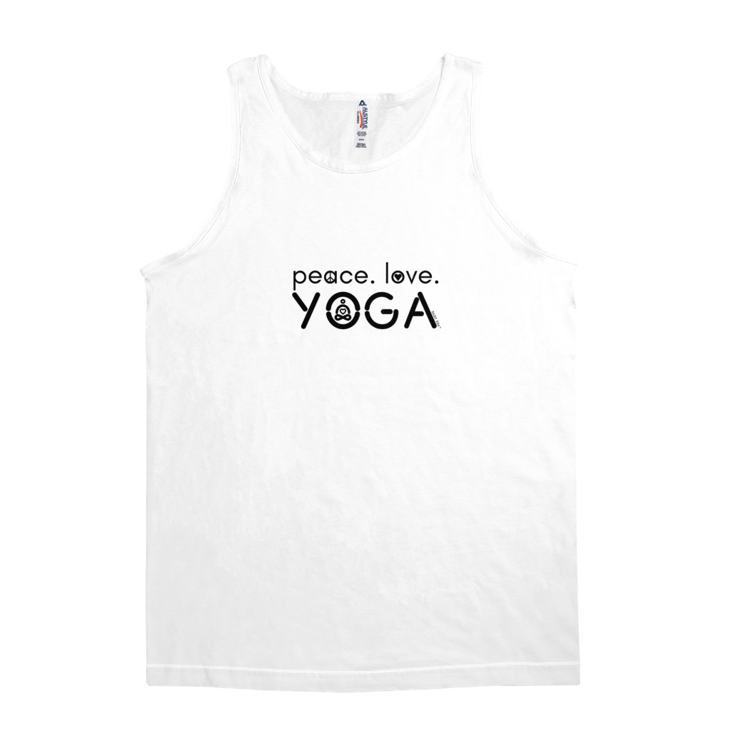 Peace Love Yoga | Men's Cotton Jersey Tank Top | 4 Colors | Mens - Baby Pea Clothing Fashion for Babies & Kids of all ages