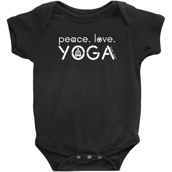Peace Love Yoga Onesie | Short Sleeve Rib | 16 Colors | Unisex - Baby Pea Clothing Fashion for Babies & Kids of all ages