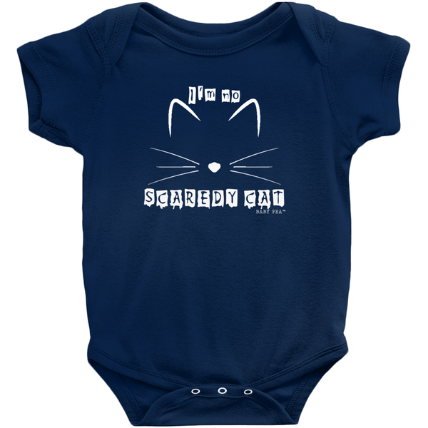 Scaredy Cat Onesie | Short Sleeve Rib | 16 Colors | Unisex - Baby Pea Clothing Fashion for Babies & Kids of all ages