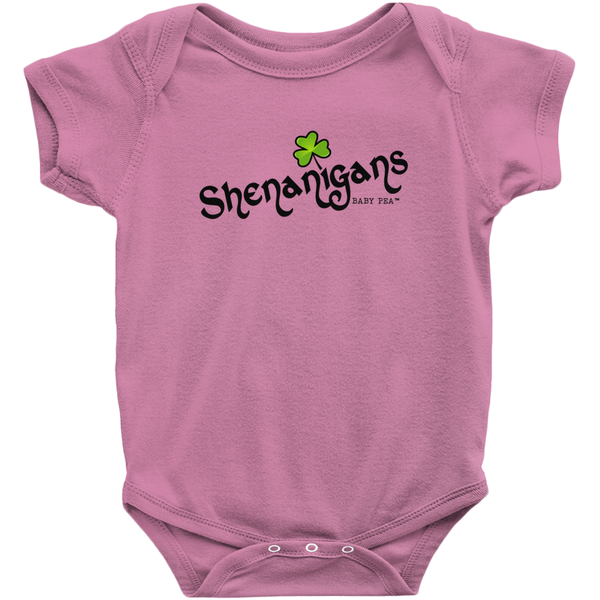 Shenanigans Onesie | Short Sleeve Rib | 16 Colors | Unisex - Baby Pea Clothing Fashion for Babies & Kids of all ages