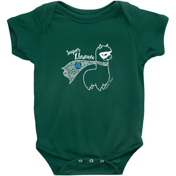 Super Llama with Blue Heart Onesie | Short Sleeve Rib | 16 Colors | Unisex - Baby Pea Clothing Fashion for Babies & Kids of all ages