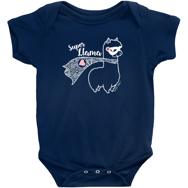 Super Llama with Pink Heart Onesie | Short Sleeve Rib | 16 Colors | Unisex - Baby Pea Clothing Fashion for Babies & Kids of all ages