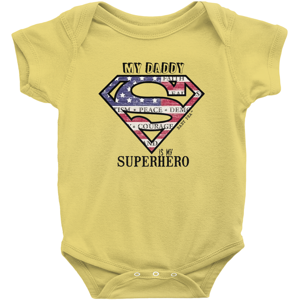 Superdad My Daddy My Superhero Onesie | Short Sleeve Rib | 16 Colors | Unisex - Baby Pea Clothing Fashion for Babies & Kids of all ages