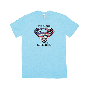 Superdad My Daddy My Superhero | Adult Triblend T-Shirt | 14 Colors | Adult Unisex - Baby Pea Clothing Fashion for Babies & Kids of all ages