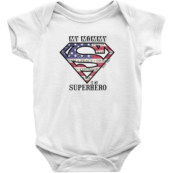 Supermom My Mommy My Superhero Onesie | Short Sleeve Rib | 16 Colors | Unisex - Baby Pea Clothing Fashion for Babies & Kids of all ages
