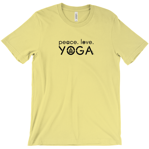 Peace Love Yoga | Adult Soft Cotton Knit Jersey T-Shirt | 16 Colors | Adult Unisex - Baby Pea Clothing Fashion for Babies & Kids of all ages