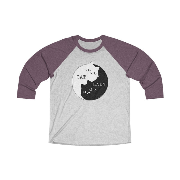 Cat Lady Yin Yang | Women's Tri-Blend 3/4 Raglan T-Shirt | 16 Colors - Baby Pea Clothing Fashion for Babies & Kids of all ages