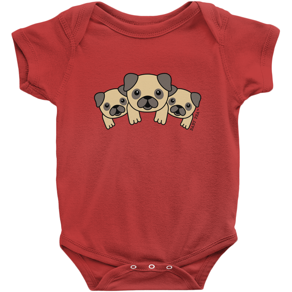 Puppy Love Onesie | Short Sleeve Rib | 16 Colors | Unisex - Baby Pea Clothing Fashion for Babies & Kids of all ages