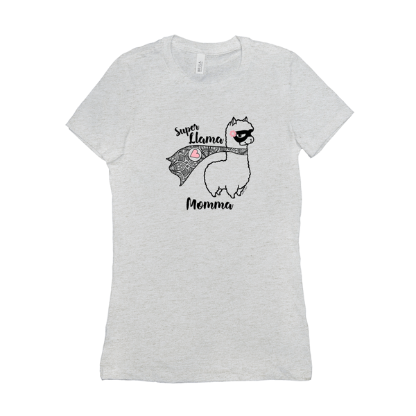 Super Llama Momma with Pink Heart | Woman's Favorite Tee | 19 Colors - Baby Pea Clothing Fashion for Babies & Kids of all ages
