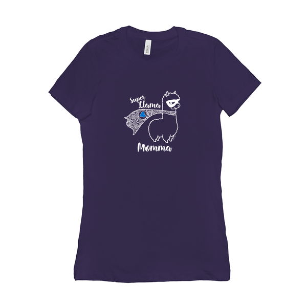 Super Llama Momma with Blue Heart | Woman's Favorite Tee | 19 Colors - Baby Pea Clothing Fashion for Babies & Kids of all ages