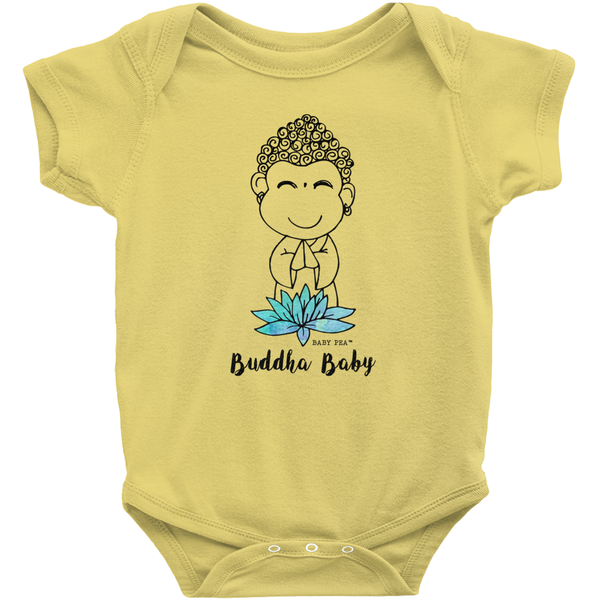 Buddha Baby Onesie | Short Sleeve Rib | 16 Colors | Unisex - Baby Pea Clothing Fashion for Babies & Kids of all ages
