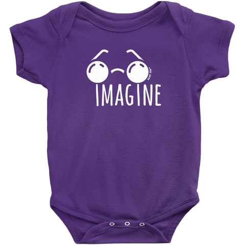 Imagine Onesie | Short Sleeve Rib | 16 Colors | Unisex - Baby Pea Clothing Fashion for Babies & Kids of all ages