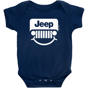 Jeep Smile Onesie  | Short Sleeve Rib | 16 Colors | Unisex - Baby Pea Clothing Fashion for Babies & Kids of all ages
