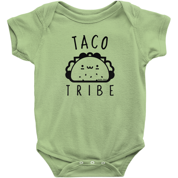 Taco Tribe Onesie | Short Sleeve Rib | 16 Colors | Unisex - Baby Pea Clothing Fashion for Babies & Kids of all ages