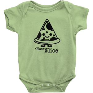 Pizza Home Slice Onesie | Short Sleeve Rib | 16 Colors | Unisex - Baby Pea Clothing Fashion for Babies & Kids of all ages