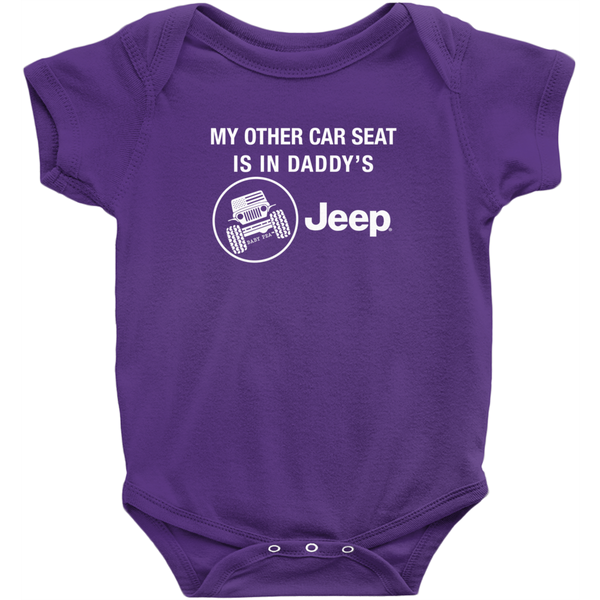 Other Car Seat in Daddy's Jeep Onesie | Short Sleeve Rib | 16 Colors | Unisex - Baby Pea Clothing Fashion for Babies & Kids of all ages