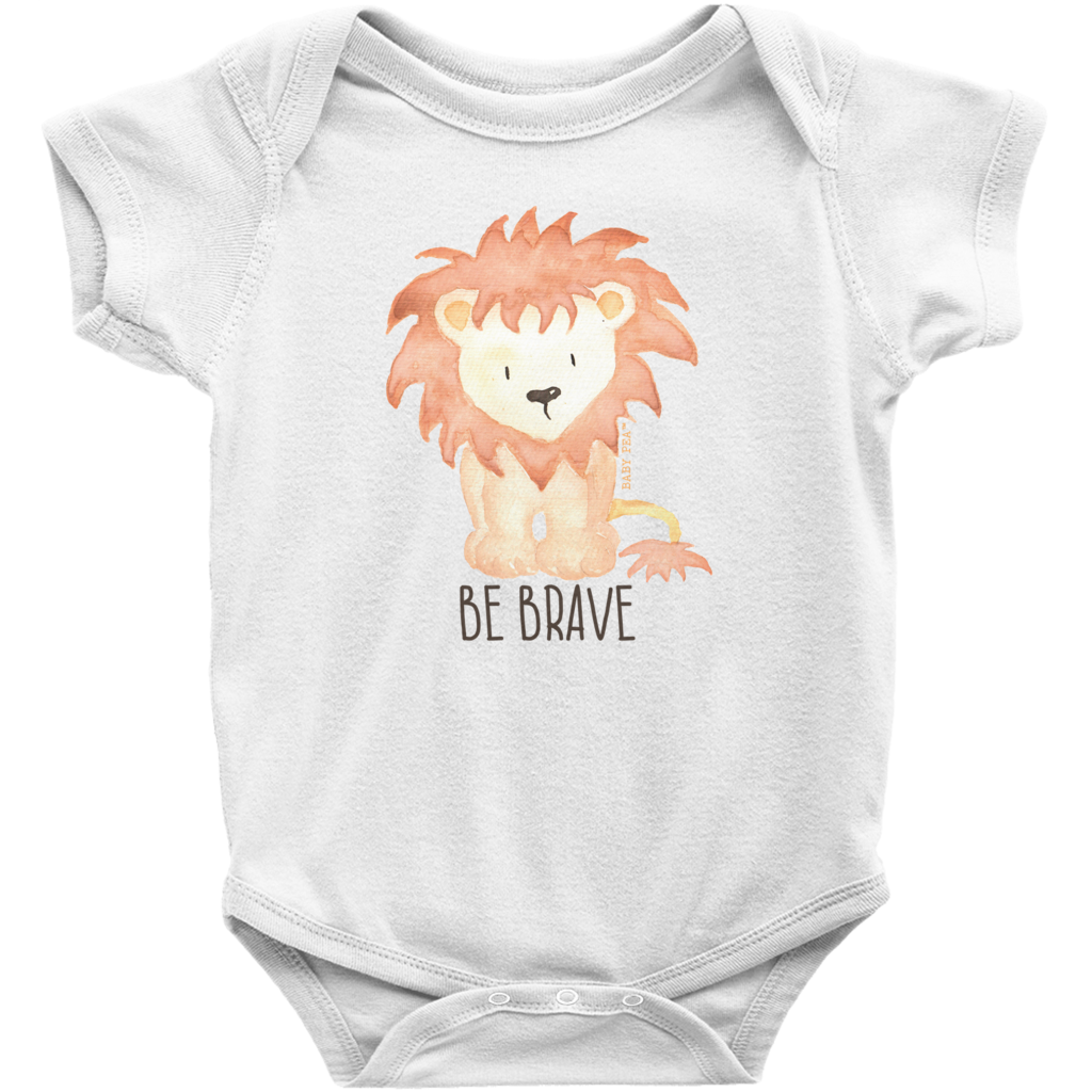 Be Brave Lion Onesie | Short Sleeve Rib | Unisex - Baby Pea Clothing Fashion for Babies & Kids of all ages