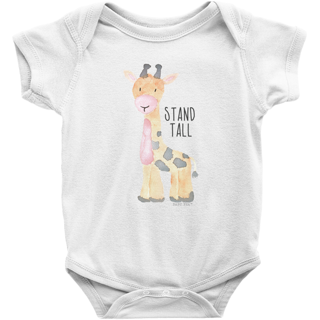 Stand Tall Giraffe Onesie | Short Sleeve Rib | Unisex - Baby Pea Clothing Fashion for Babies & Kids of all ages