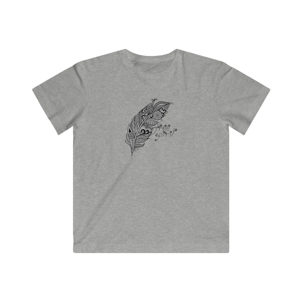 Free Spirit Boho Feather | Youth Cotton Fine T-Shirt | 11 Colors | Youth - Baby Pea Clothing Fashion for Babies & Kids of all ages