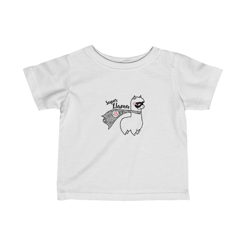 Super Llama with Pink Heart | Infant Fine Jersey Tee | 12 Colors - Baby Pea Clothing Fashion for Babies & Kids of all ages