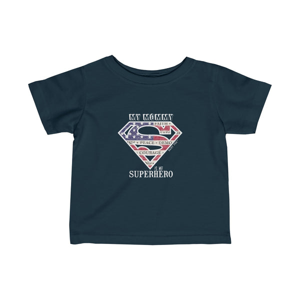 Supermom My Mommy My Superhero | Infant Fine Jersey Tee | 12 Color - Baby Pea Clothing Fashion for Babies & Kids of all ages