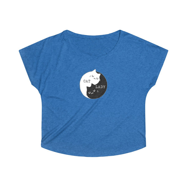 Cat Lady | Women's Tri-Blend Dolman T-Shirt | 11 Colors - Baby Pea Clothing Fashion for Babies & Kids of all ages