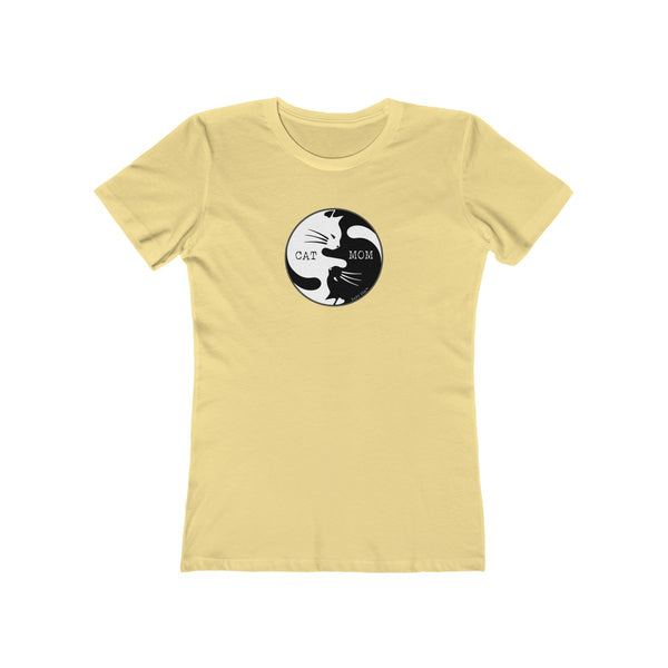 Cat Mom Yin Yang | Women's The Boyfriend Tee | 16 Colors - Baby Pea Clothing Fashion for Babies & Kids of all ages